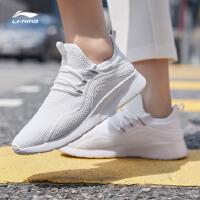 李宁跑步鞋女鞋2019新款eazGO夏季透气轻便一体织白色休闲运动鞋AREP006