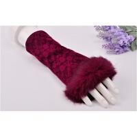 羊毛手套韩版秋冬天可爱蕾丝露指保暖淑女羊绒兔毛口手套半指 均码
