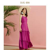 【秒杀价:79元】爱客紫色吊带连衣裙女2019夏季 海边沙滩收腰褶皱
