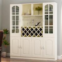 客厅隔断柜子家用实木酒柜现代简约屏风柜进门鞋柜欧式玄关柜间厅 白色 4门加玻璃门 组装