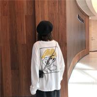 韩版秋新款女装原宿风中长款蝙蝠袖圆领长袖t恤+开叉半身裙套装女 均码