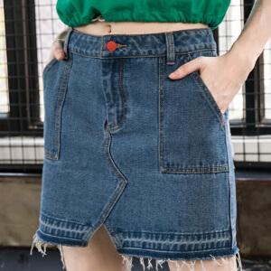 PASS2018新款夏装牛仔短裙子女修身显瘦半身裙港风chic百搭a字裙