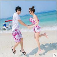 新款情侣装 泳衣女性感小胸聚拢保守 海边度假泳裤男 树枝图案沙滩套装