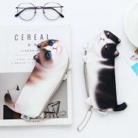 创意可爱仿真猫咪笔袋 韩版印花猫学生化妆包零钱包
