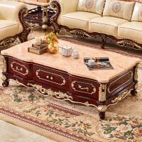 欧式茶几大理石面 电视柜茶几组合红檀色深色客厅泡茶桌别墅家具 整装