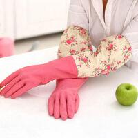 普润(PU RUN) 家务手套 乳胶清洁手套洗衣用厨房洗碗 家用洗衣手套 轻便束口花袖单层颜色随机