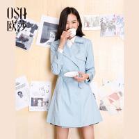 OSA欧莎2017春女春季新款女装时尚灰色百搭收腰显瘦女士风衣A23011