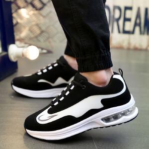 罗兰船长 气垫运动休闲情侣鞋时尚潮流橡胶气垫增高鞋耐磨男鞋新品 黑白 42D