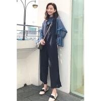 2018春季新款韩版温柔少女波点长袖衬衫+甜美宽背带裤阔腿裤时尚套装两件套女
