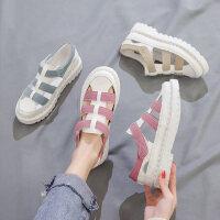 韩版原宿风休闲平底鞋子 新款女士学生鞋子百搭凉鞋 罗马橡胶包头女鞋