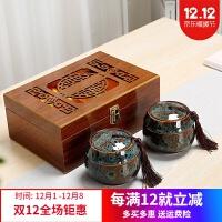 茶�~�Y盒�b空盒中秋�Y品普洱�t�G茶金�E眉通用陶瓷�G�茶�~罐木盒