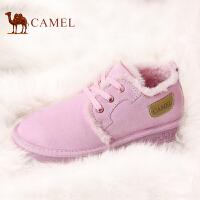 camel骆驼女鞋 冬季 时尚韩版加绒加厚雪地靴女短筒保暖防滑学生平底靴