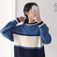 秋冬女装韩版宽松百搭蓝白条纹长袖套头针织衫学生毛衣上衣外套潮