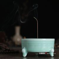 手工龙泉青瓷香炉大号陶瓷佛具檀香炉适用三足双耳线香炉香道香拓