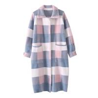 外套女中长款2018新款韩版直筒加厚针织格子毛衣开衫大衣