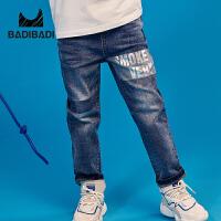 【超品日3件2折:49】巴拉巴拉旗下 巴帝巴帝童装男童牛仔裤19春新款字母印花裤子中大童