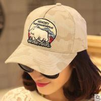 韩版网红同款时尚迷彩防晒鸭舌帽子 女户外运动新品遮阳运动女士棒球帽 女韩国