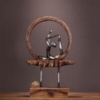 新古典创意瑜伽莲花树脂摆件家居家饰装饰品工艺品现代客厅样板房
