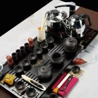 新款幽雅清香紫砂功夫茶具套装整套家用茶壶茶杯实木茶盘全套
