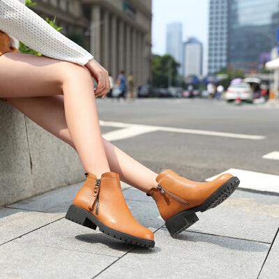camel骆驼秋季新款女靴休闲短靴时尚英伦马丁靴牛皮靴子女