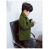 男童呢子大衣2017新款韩版加厚宝宝保暖夹棉羊绒上衣儿童毛呢外套 军绿色 mbd腰带呢大衣