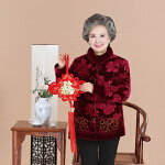 【年货节 满200减100】冬季新款奶奶装金丝绒刺绣棉衣老太太加绒棉服老年女式棉衣上衣厚