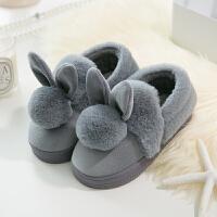 室内高跟棉拖鞋冬 家居防滑保暖拖鞋女 可爱兔子包跟厚底棉拖