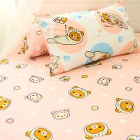 轻松熊飞行家四件套卡通白底小熊纯棉床单床笠床上用品