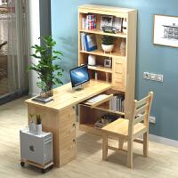 简易转角电脑桌台式家用书桌书柜组合实木学习桌经济型办公写字台 钢化玻璃门送椅