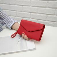 女士钱包女长女式多功能旅行护照包大容量手机男手腕带手拿信封 大红色