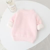 女婴儿童毛衣装加绒加厚1岁女宝宝23长袖针织衫毛衣女童打底衫4