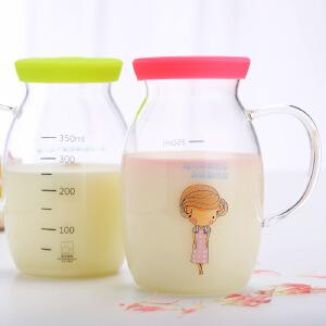 明尚德牛奶杯可微波带把牛奶杯马克杯创意卡通玻璃杯