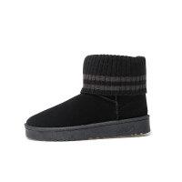 冬季磨砂新款毛线口雪地靴子女短靴学生加绒平底短筒棉鞋女防滑潮