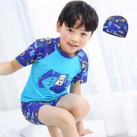 儿童泳衣男童小中大童分体防晒速干游泳衣套装男孩泳裤宝宝送泳帽