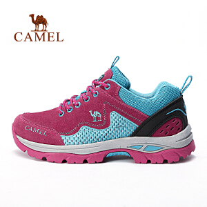 【每满200减100】camel骆驼户外徒步鞋 女款防滑减震反绒牛皮户外鞋