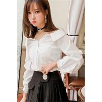 白色心机衬衫女2018春装新款韩版一字肩泡泡袖设计感长袖上衣衬衣 白色