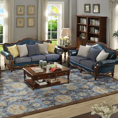 【限时直降3折】美式乡村组合沙发实木真皮沙发 欧式沙发布艺沙发客厅沙发 支持* 送抱枕 质保三年免费安装