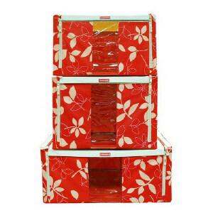 LOCK&LOCK乐扣  树叶百纳箱3件套装LLB145RLF003 收纳箱 柜 优品优质收纳盒整理箱