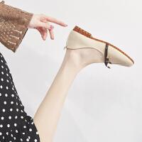 ZHR女鞋2019新款单鞋平底百搭浅口玛丽珍鞋女复古网红奶奶鞋软底