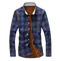衬衫男格子衬衣男款长袖修身厚款衬衫韩版格纹大码长袖衬衣加绒款休闲衬衫男