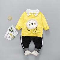 男童长袖T恤套装2018新款男宝宝春装卫衣两件套童装春季婴儿衣服 黄色 XET睡脸狮子