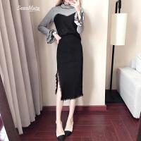 蕾丝连衣裙春装2018新款高领女针织洋气套装修身长袖中长款两件套 黑色蕾丝上衣+开叉半裙