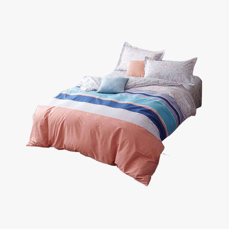 当当优品家纺 纯棉斜纹印花床品 双人床单四件套 你好色彩133*72高支高密 活性印染不含甲醛 多色可选 1.5-1.8床适用