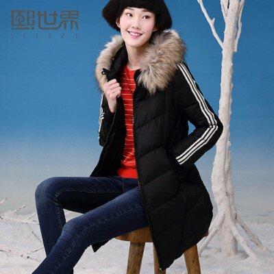熙世界冬新款纯色简约中长款白鸭绒连帽羽绒服女198LY180