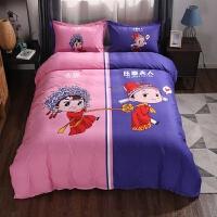 网红同款床上用品搞怪四件套单双人创意床单被罩情侣家纺