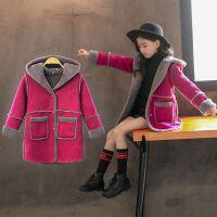 童装2018冬装新款女童鹿皮绒大衣儿童连帽加绒加厚韩版外套