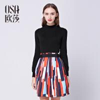 OSA欧莎2016冬季新款女装长袖黑色时尚显瘦收腰连衣裙D13022