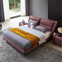 意式轻奢皮床北欧双人床 现代简约主卧婚床 创意时尚后现代网红床 +3E椰梦维床垫