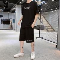 花花公子短袖t恤套装男装2020夏新品休闲韩版半袖男士时尚百搭青少年套装潮