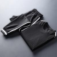男士2018新款春夏季休闲套装潮流短袖卫衣一套帅气衣服两件套
